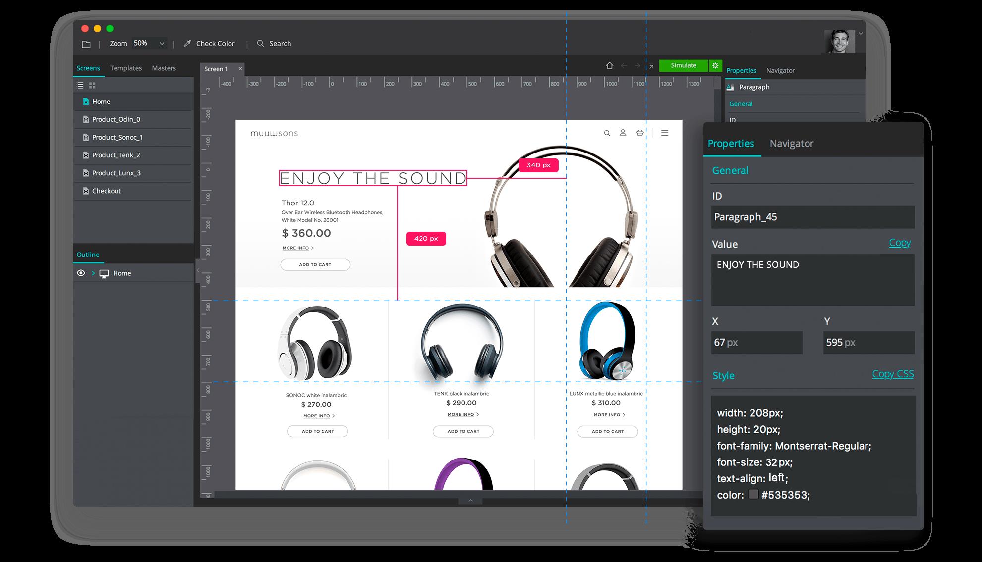 Justinmind developer interface for better design hand-off