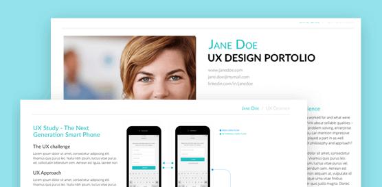 Justinmind free UX portfolio template