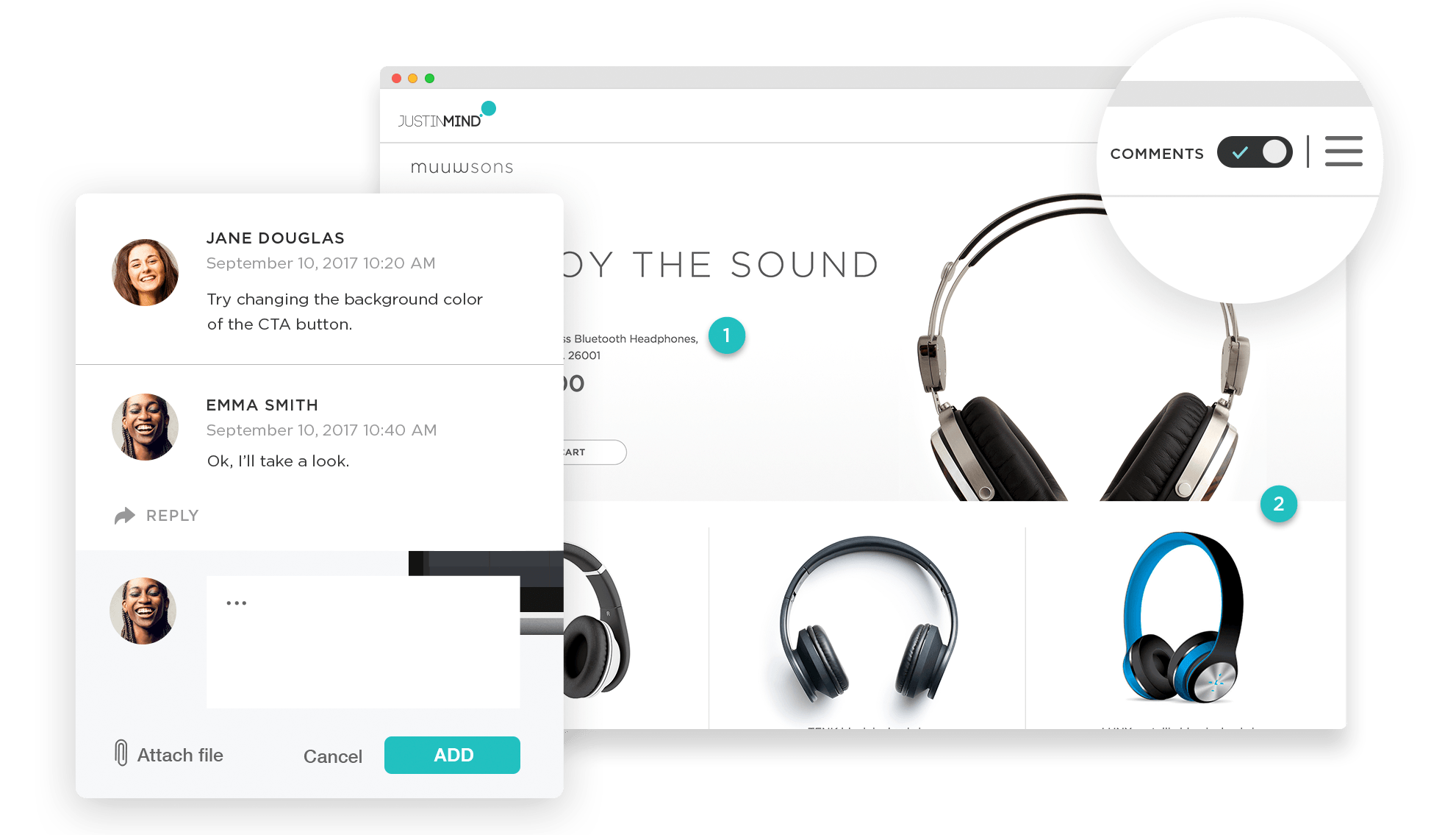 Share and get feedback on Justinmind prototypes