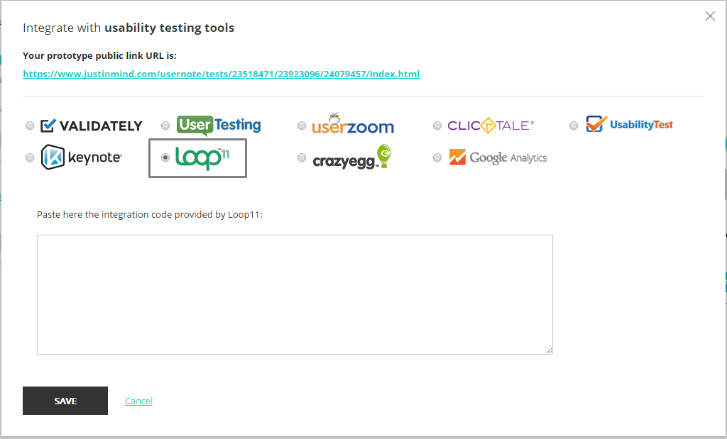 Justinmind integrates with user testing tool Loop