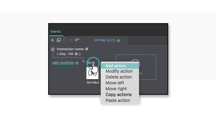 Interactive wireframes: autopopulate text - Add action