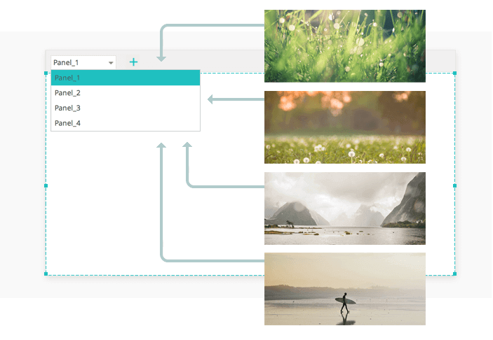 Interactive wireframes: slides images