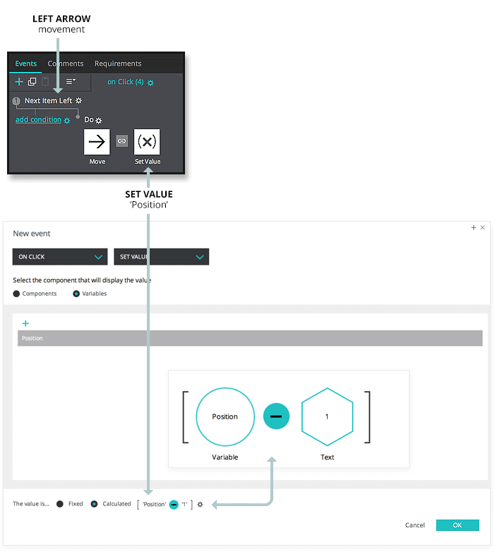 Interactive prototype carousel: set value event