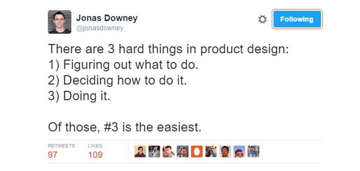 example of tweet on product design by basecamp founder