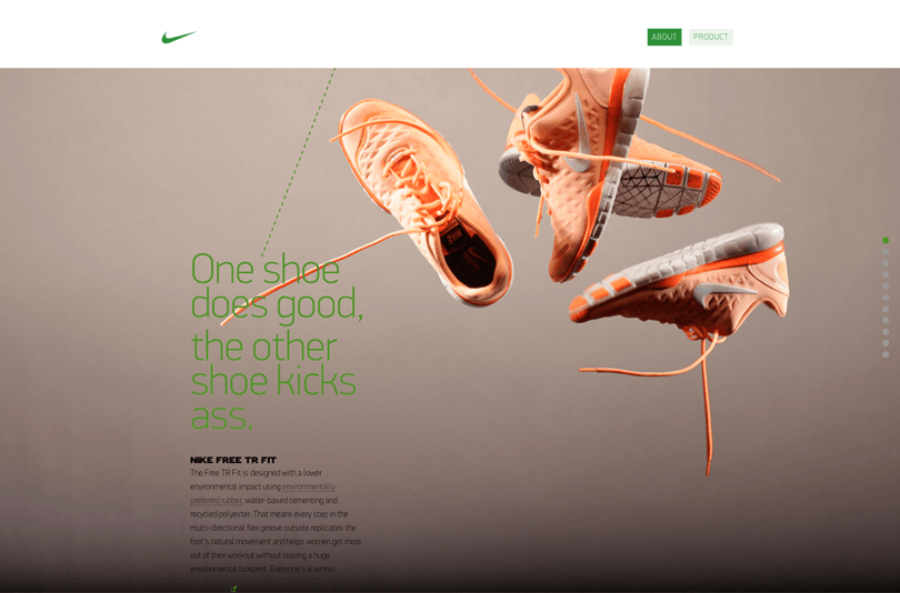 example of websites with parallax scrolling design - nike