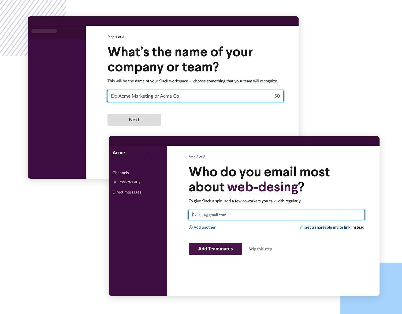User onboarding - asking information during set up of Slack account