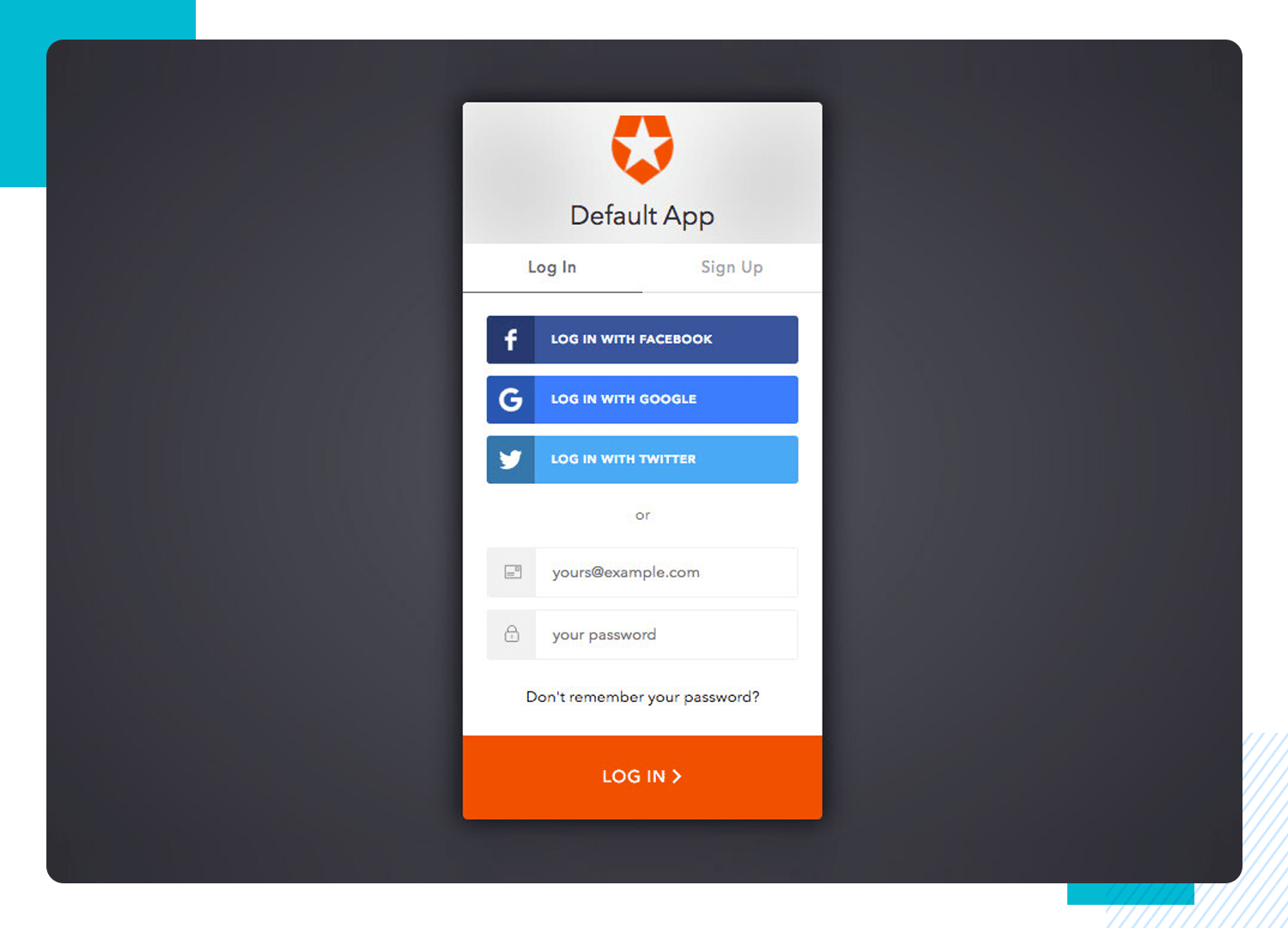 prototyping login forms for social accounts