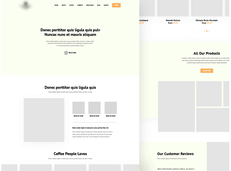 landing page wireframe for coffeeshop
