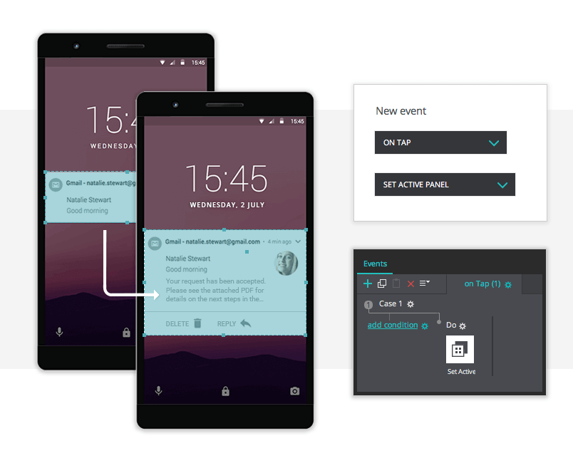 using justinmind events for android push notifications