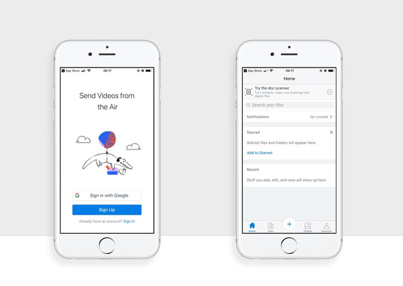 examlpe of best example of app design - dropbox