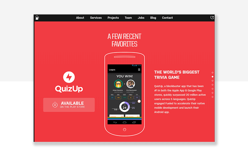 mobile development agency website example - parallax scrolling at its finest