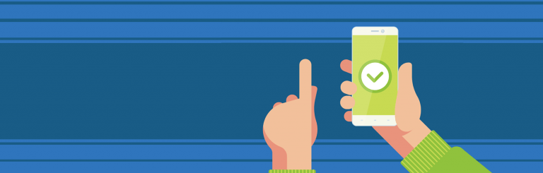 Guide to microinteractions header image: hand holding smartphone with check sign on screen.
