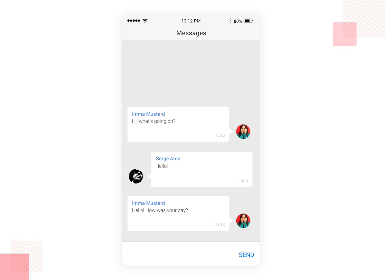 Messaging app - mobile app mockup template justinmind
