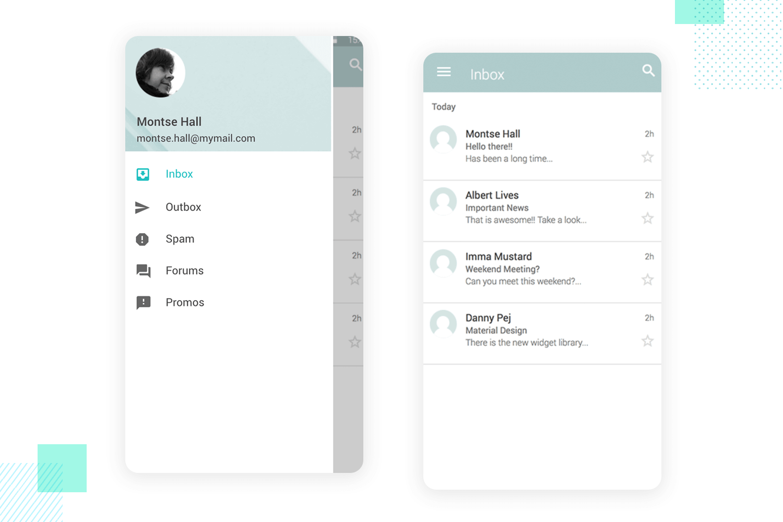 Slide menu - mobile app mockup - Justinmind