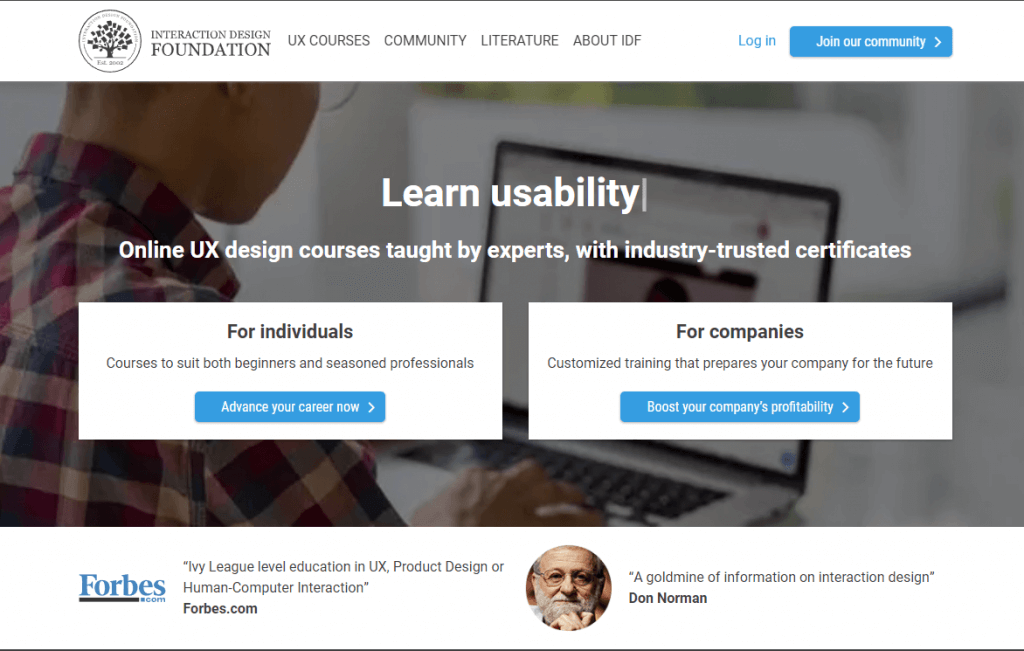 Online UI/UX design course on the design foundation.