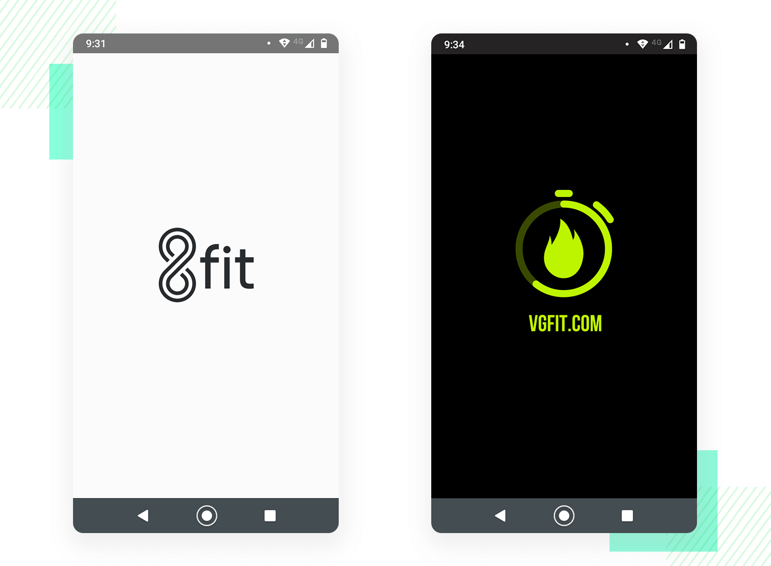 splash screens by fitness apps - 8fit and vg-fit