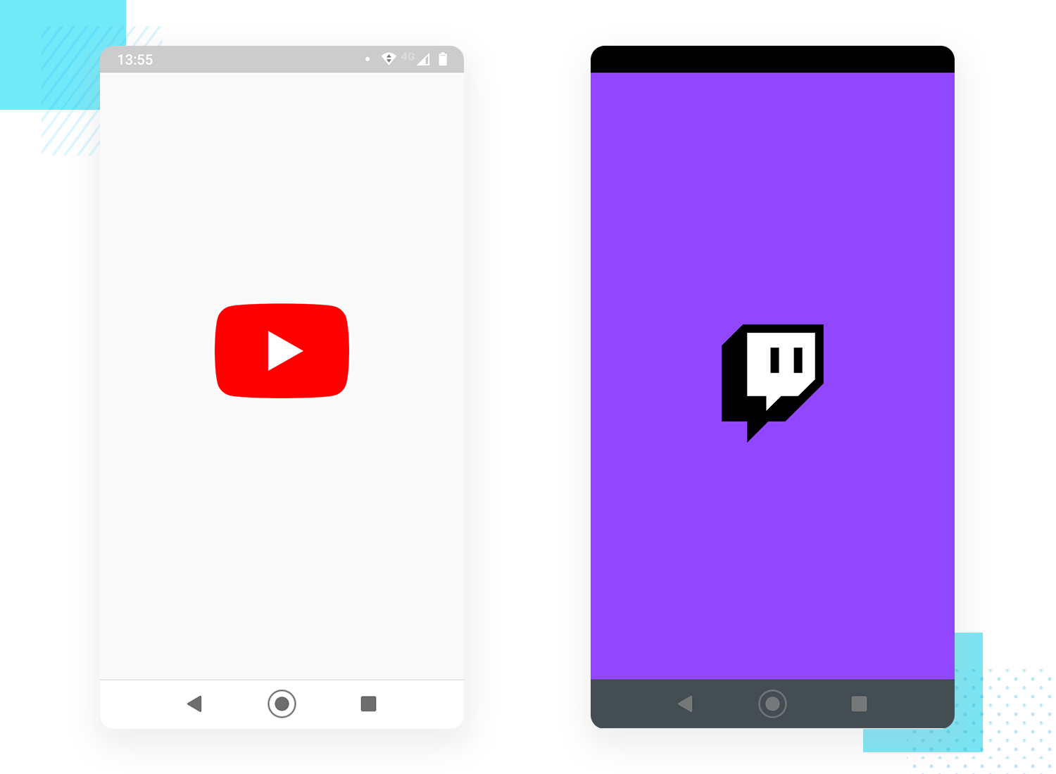 splash screen design examples from youtube and twitch