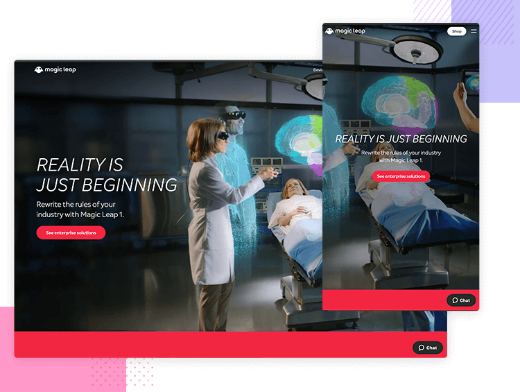 Magic Leap One - Responsive website examples - Justinmind