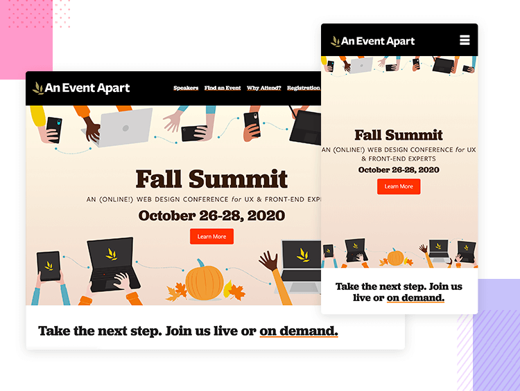 An Event Apart - Responsive website examples - Justinmind
