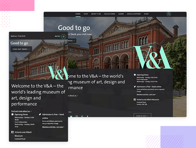 Victoria and Albert - Responsive website examples - Justinmind