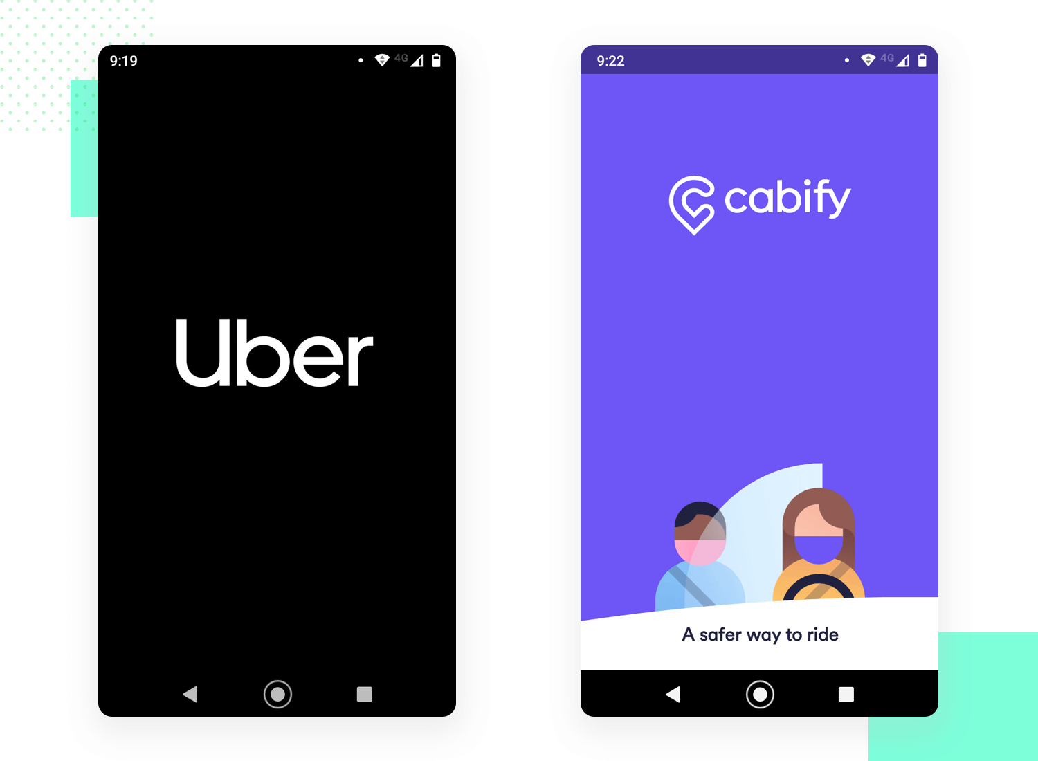 ride sharing splash screens design by uber and cabify