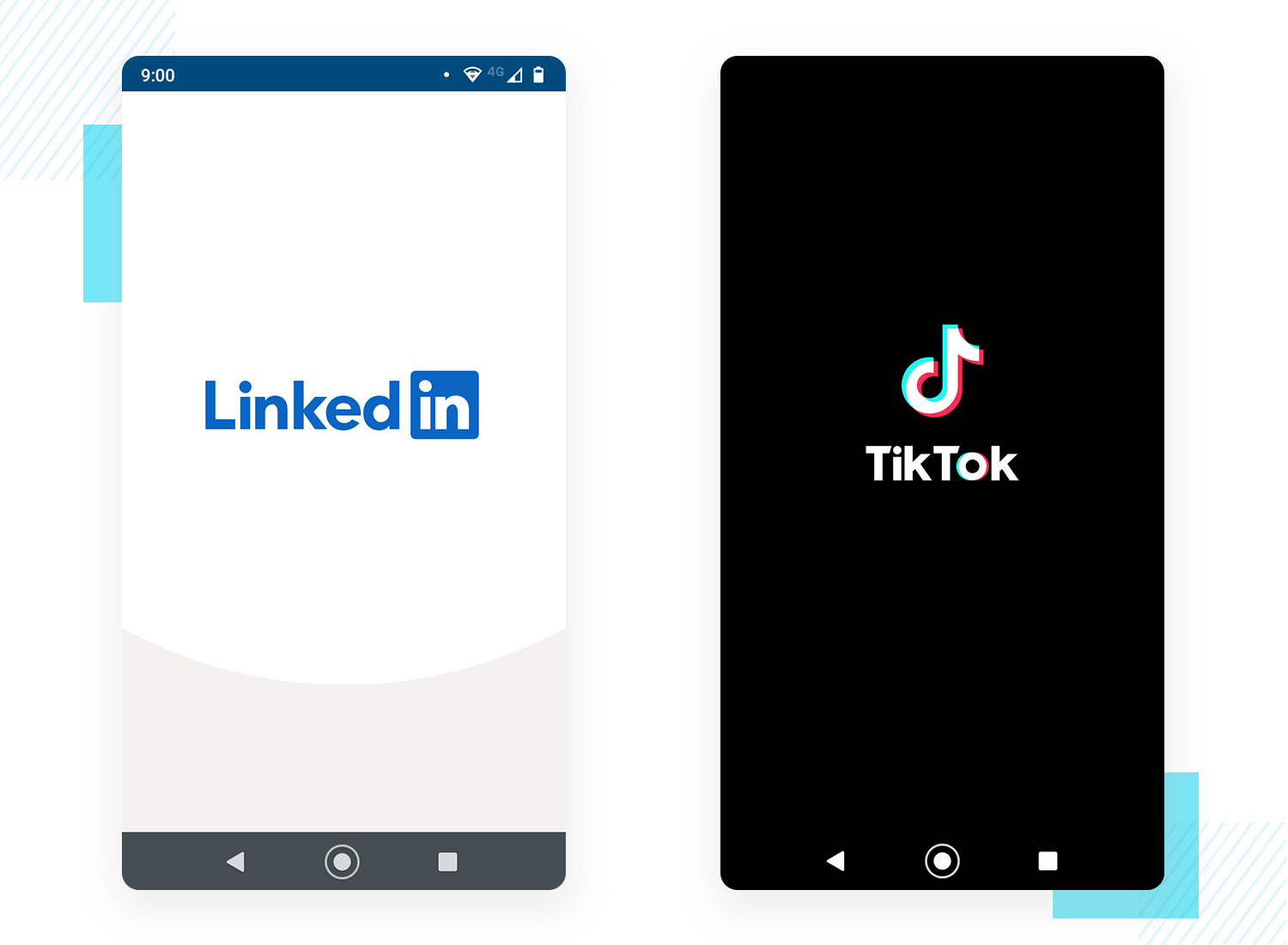 example of splash screen design by social networks tik tok and linkedin