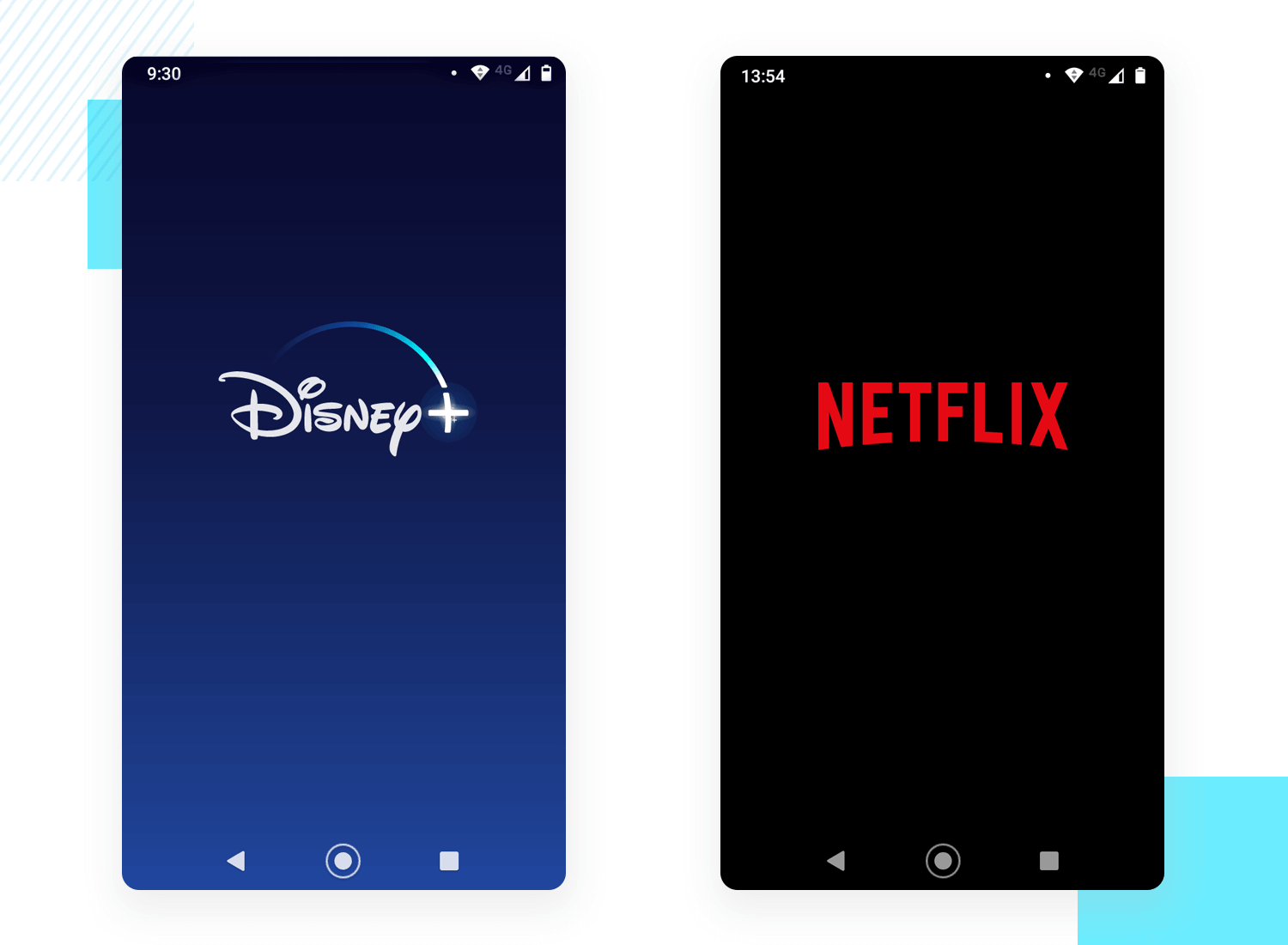 splash screen designs by streaming services disney+ and netflix
