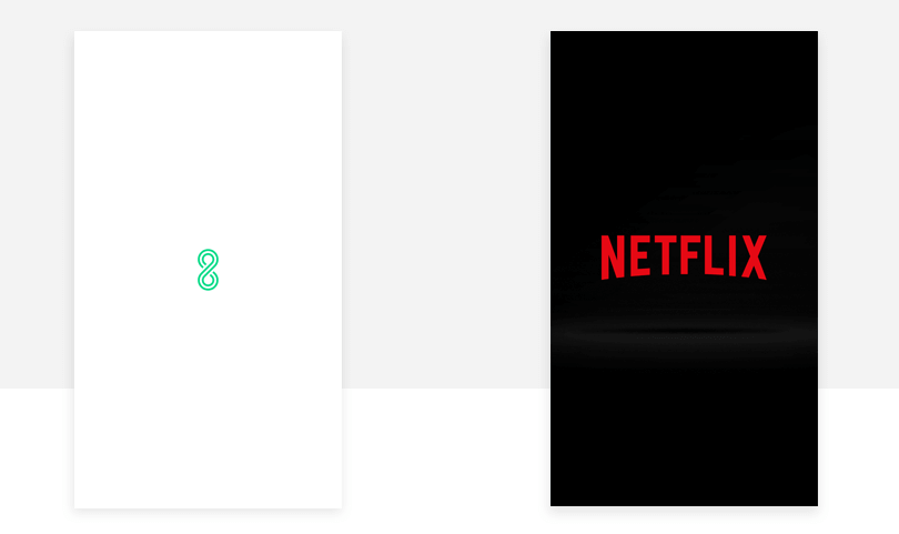 Netflix splash screen design example