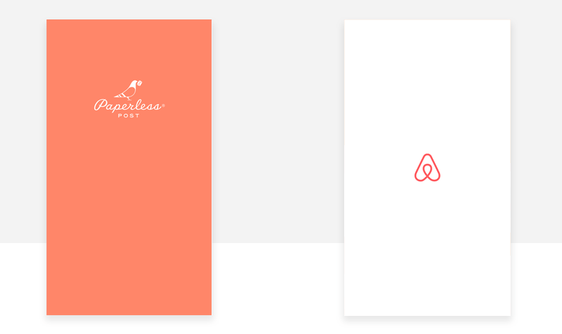 paperless and airbnb splash screens design examples
