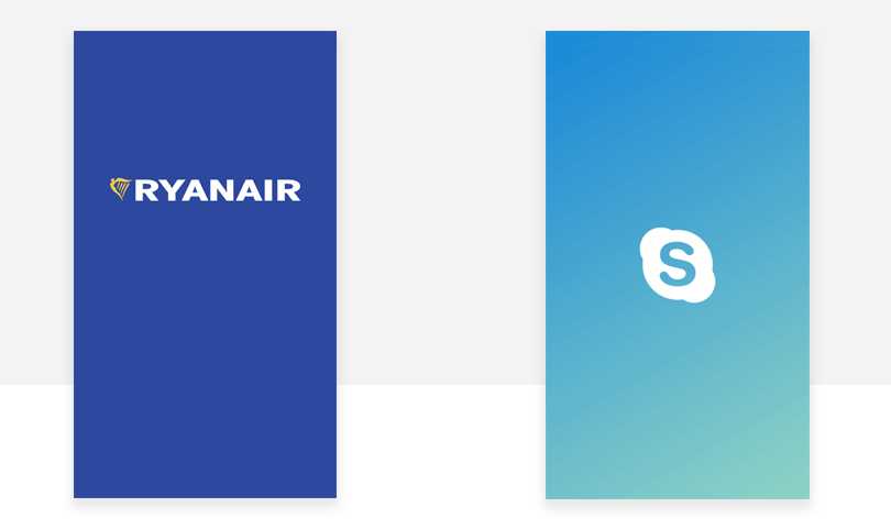 ryanair and skype splash screen examples