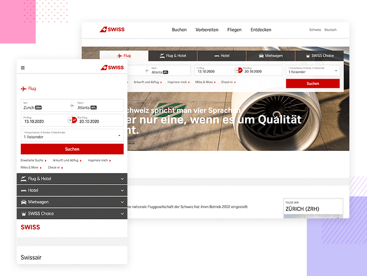 Swiss Air - Responsive website examples - Justinmind