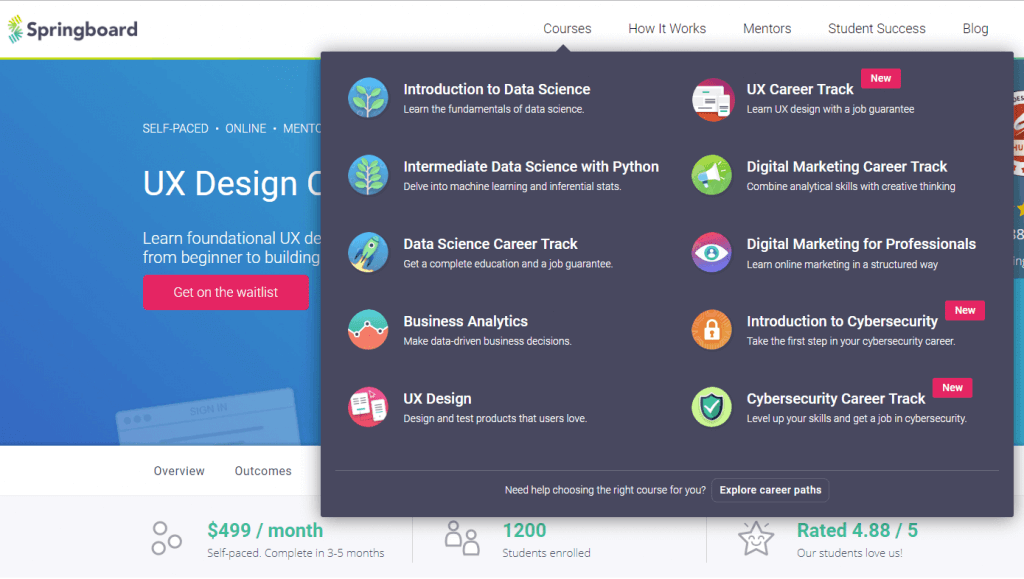 online UI/UX design course at Springboard.
