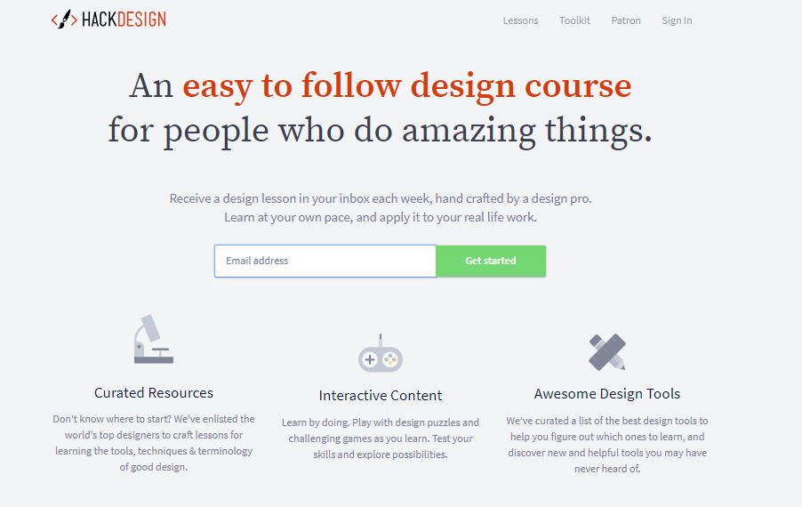 Online UI/UX design course at Hack design.