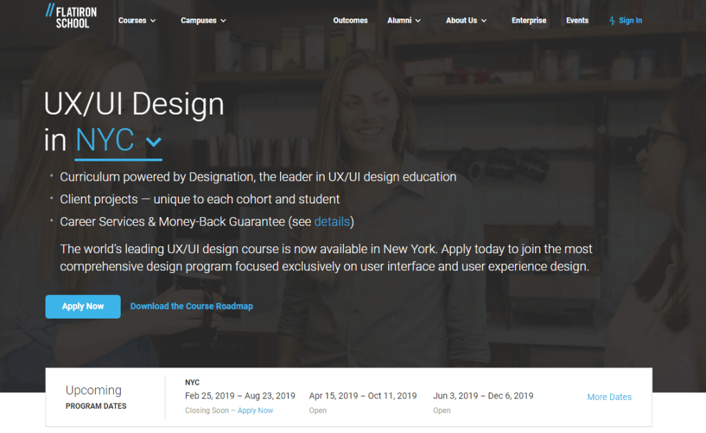 flatiron ux design course in classroom