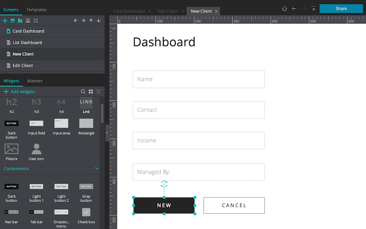 New client button