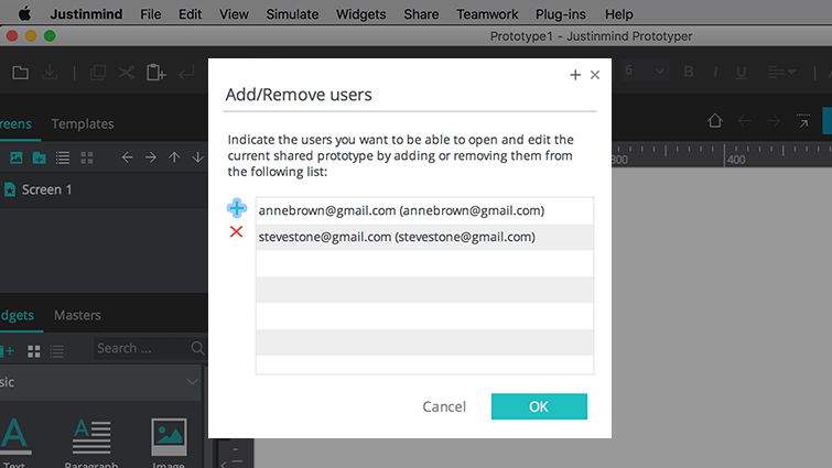 add remove users dialog