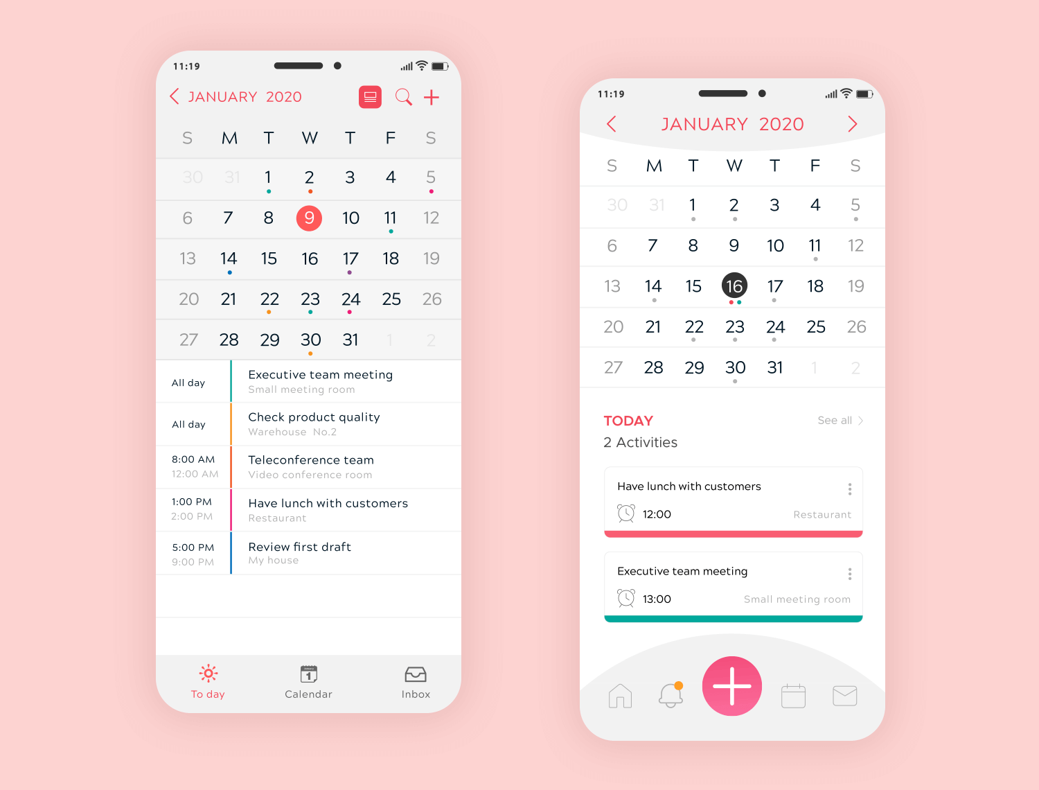 example calendar design functional
