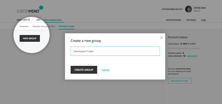 create new group developers