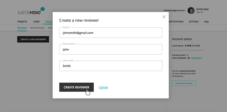 creating reviewers contacts