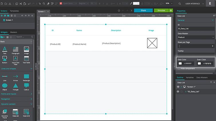 customize data list properties