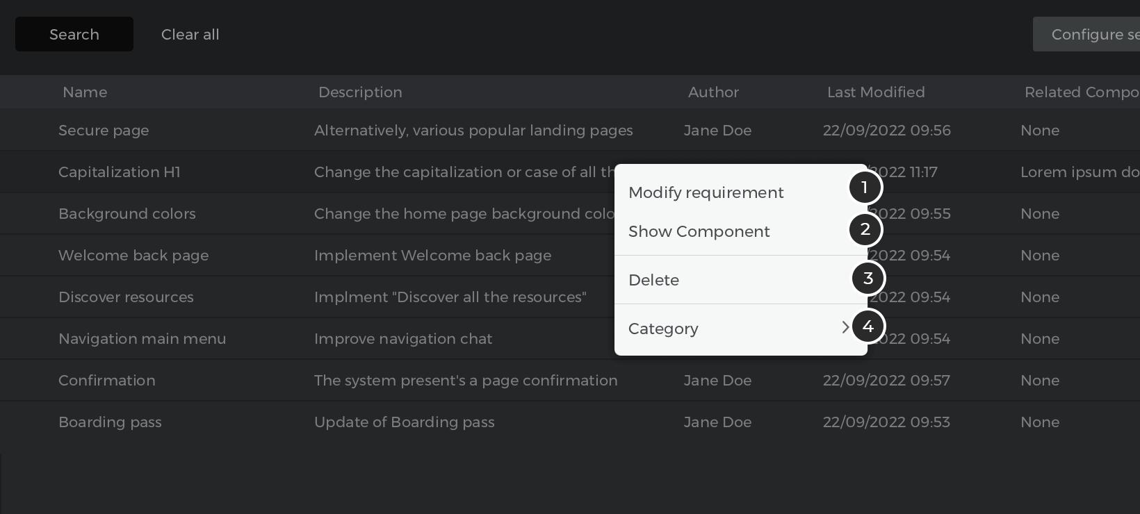 customizing requirements menu