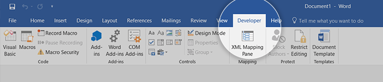 developers tab microsoft word