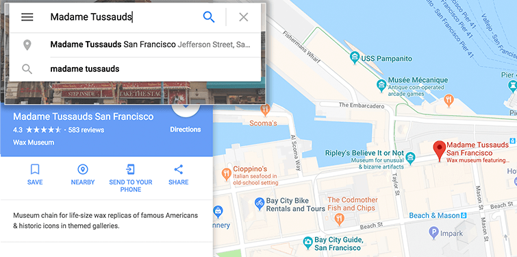 google map tussauds embed