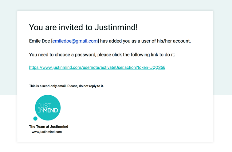 justinmind online account activation email