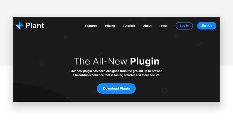 Sketch addons - plant website header
