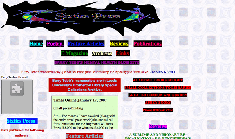 terrible website design from 90s - no coherence