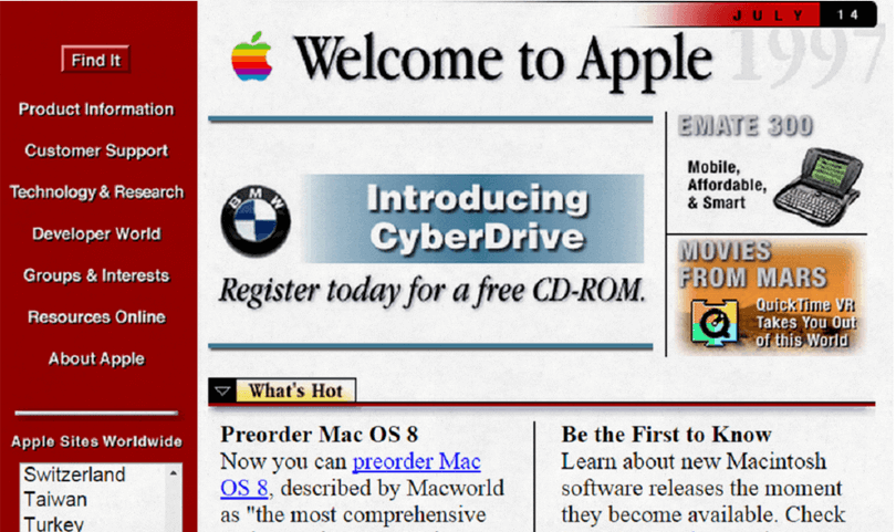 worst website designs from 90s - apple