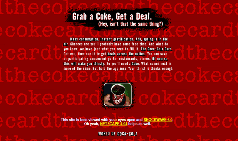 worst website designs from 90s - coca cola