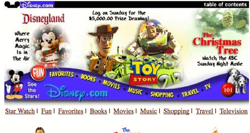 wosrt website designs from 90s - disney