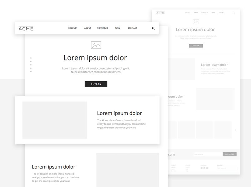 website wireframing ui kit example